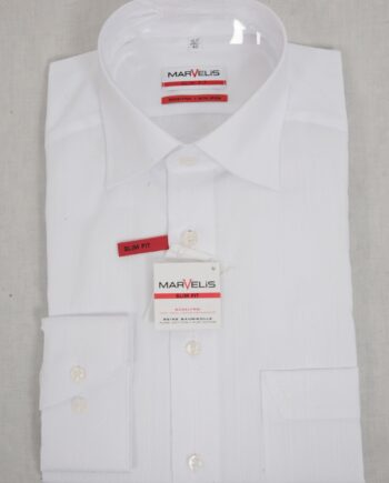 Slim White Self Stripe shirt