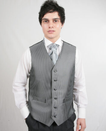 Dark Silver Stripe Waistcoat