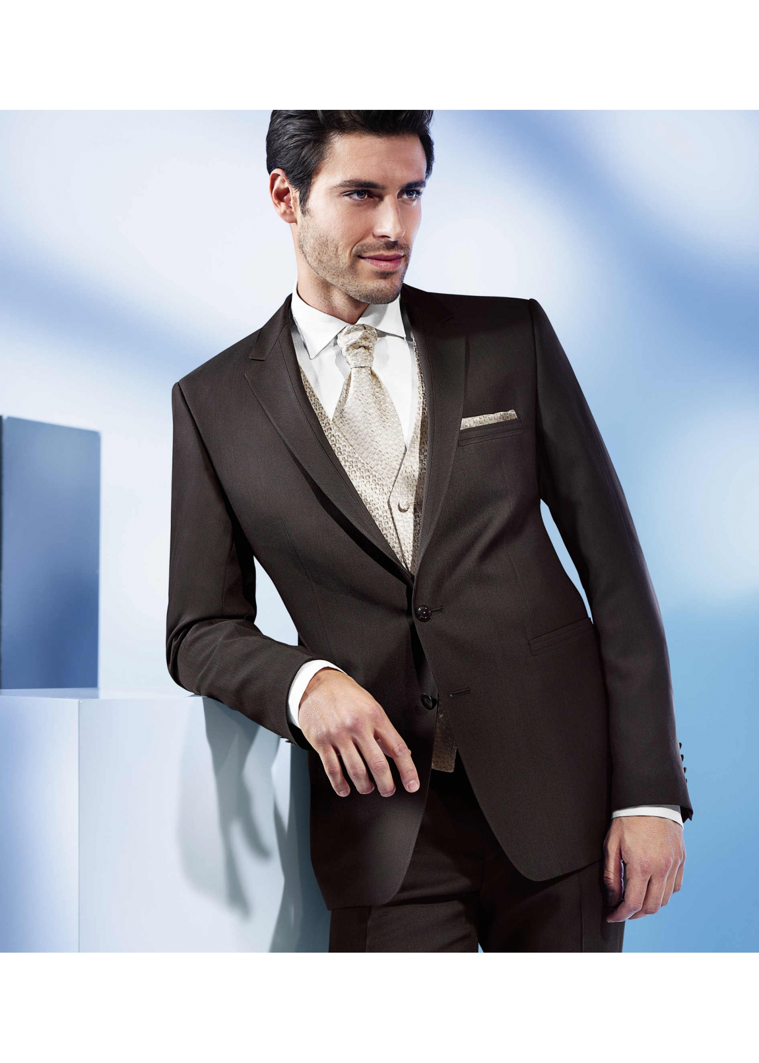 Two Button Dark Brown Suit With Subtle Shine - Tom Murphy's Formal ...