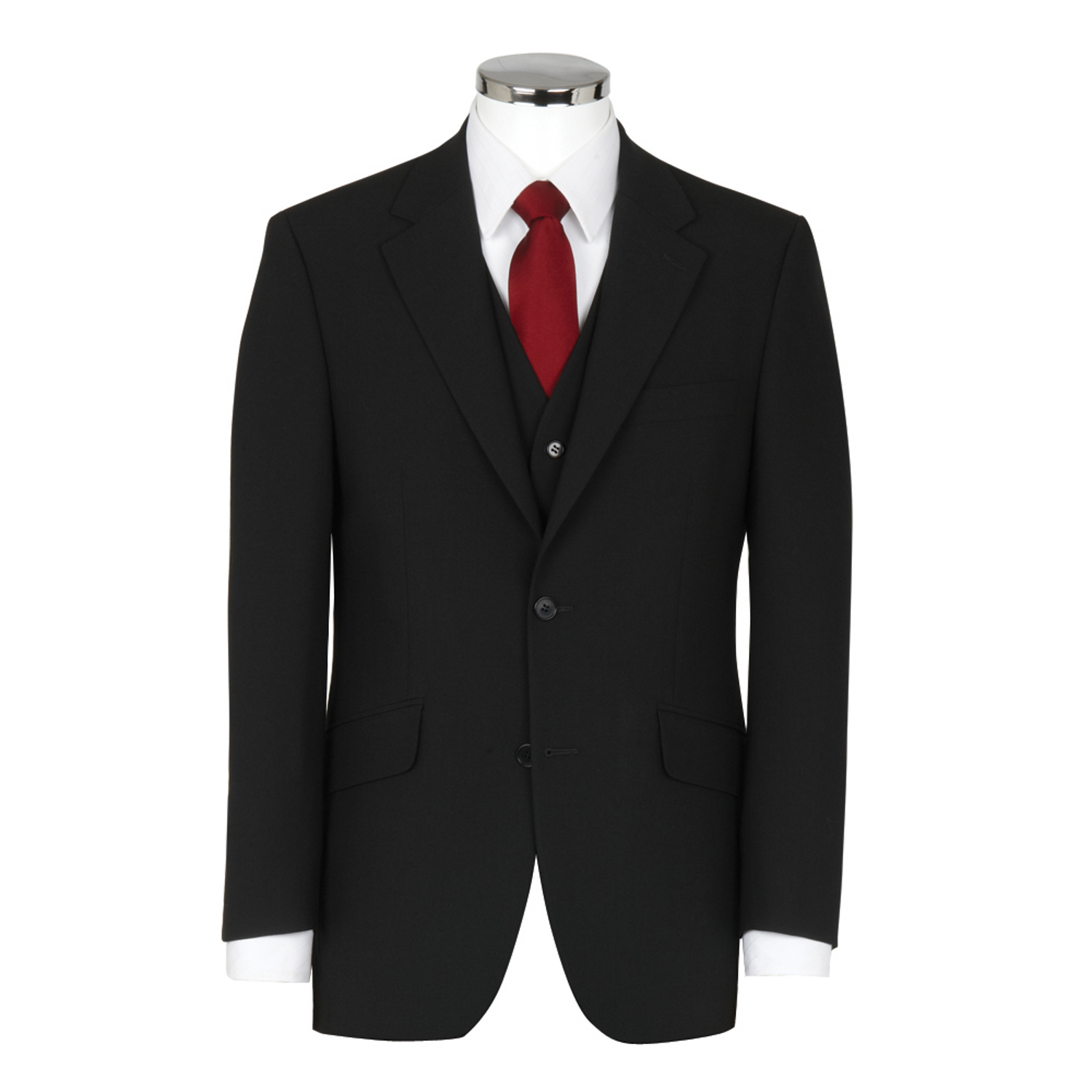 3 Piece Wool Mix Black Suit