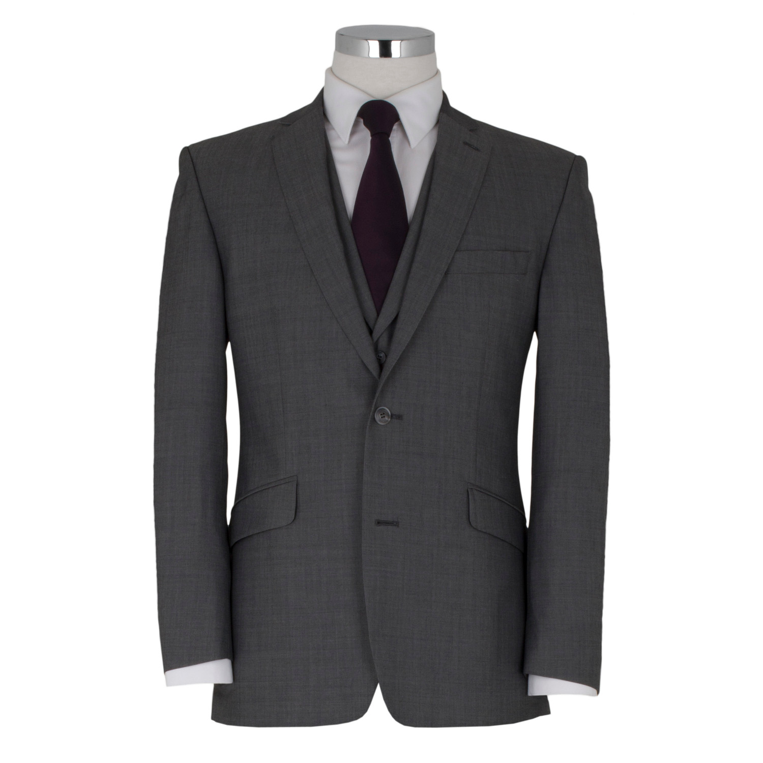 Silver 3 Piece with Notch Lapel Waistcoat