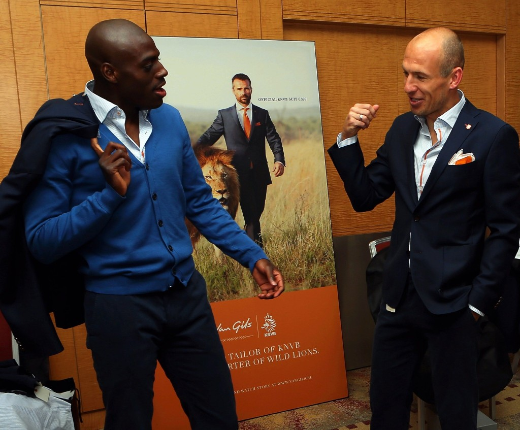 Robben and Martins Indi get togged out in Van Gils for a recent photo shoot.
