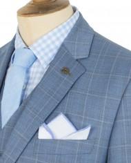 Blue Windowpane Check Suit Jkt G16114NMJ – Shirt G16154MS – Vest G16114MV – Tie G16173TE – Hank G16176HK_B