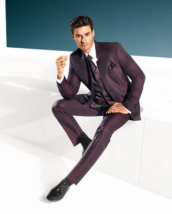 TZIACCO 2016 Marsala Red 3 piece suit