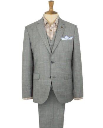 Grey Check 3 Piece Wedding Suit