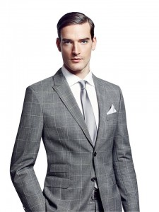 light grey check suit
