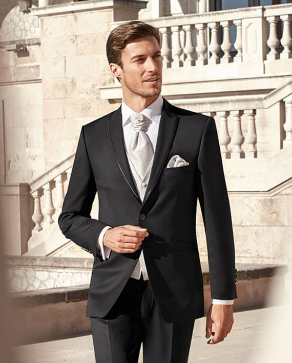 timeless black 3 piece wedding suit After Six 2017