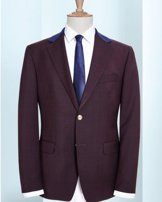 Plum 2 piece suit with Blue collar