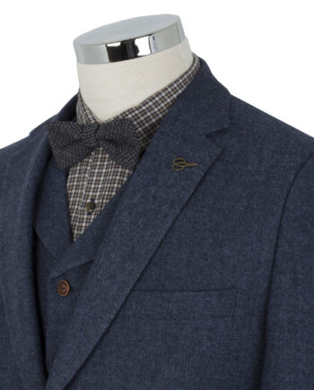 Blue Tweed Herringbone 3 Piece Suit