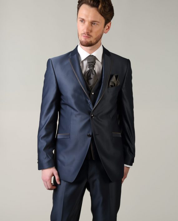Shiny Blue with Coffee trim - Tom Murphy's Formal and Menswear