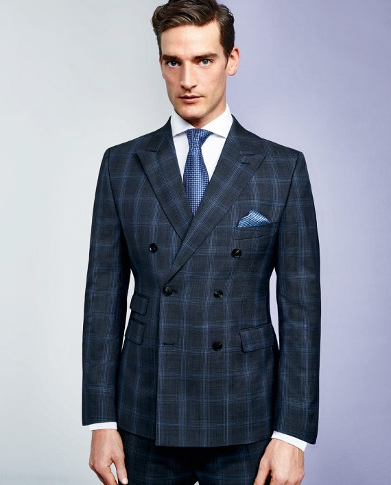 Marzotto Double Breasted Check 2 Piece Suit