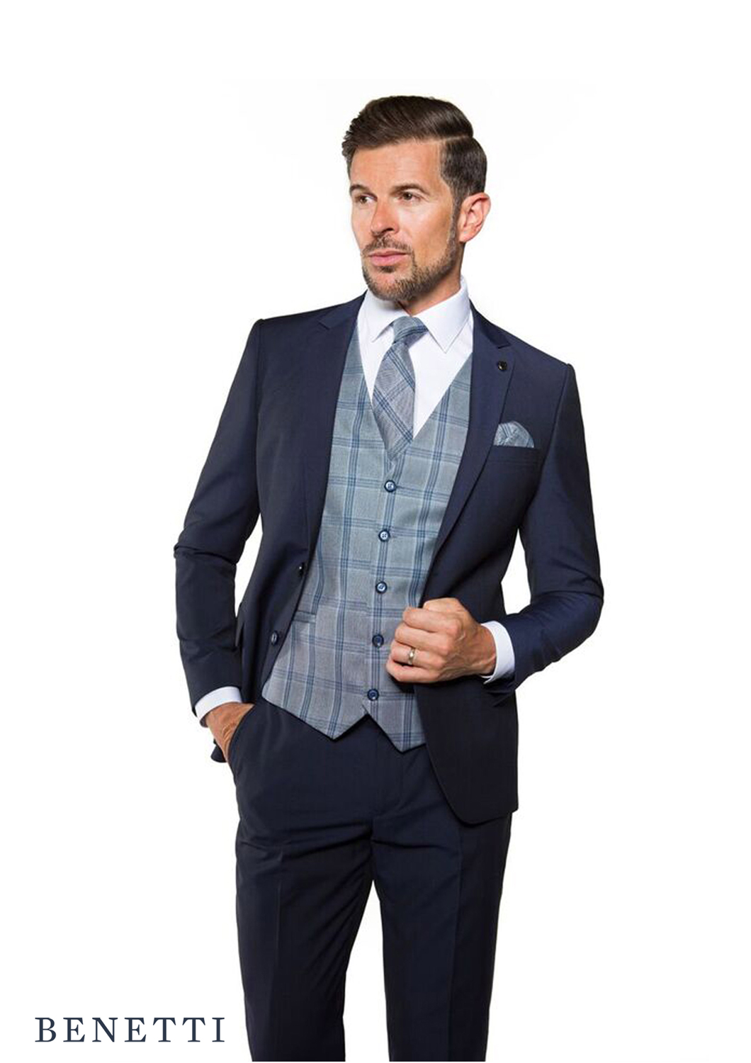 If you're unsure of the dress code then play it safe and match your trousers and jacket to your waistcoat. If you think there's room to have a bit of fun, then try pairing a bright or patterned waistcoat underneath your usual suit jacket and trousers. A classic collared shirt is best, but ties are optional.