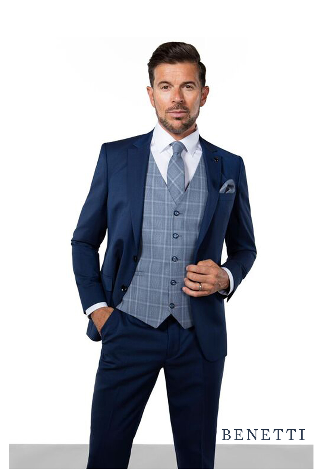 James Petrol 3 Piece Suit Brax Waistcoat from Tom Murphy Menswear