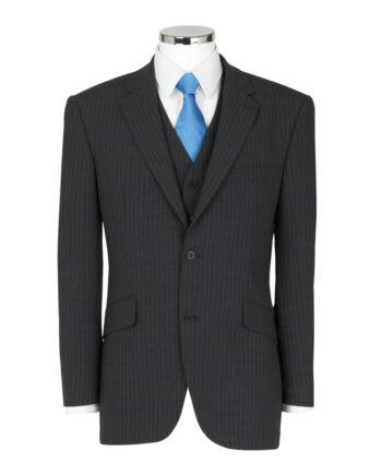 Charcoal 3 Piece Pinstripe Suit
