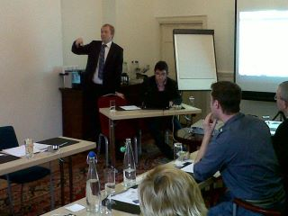 Tom Murphy giving presentation on the use of video for business in Radisson hotel