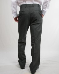Grey wide stripe wool trousers