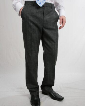 Grey wide Stripe Wool Trousers