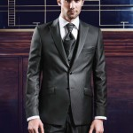 Two Button Striped Anthracite Suit