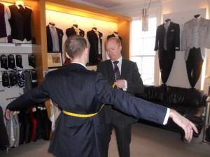 Magee Suits being measured by Tom Murphy