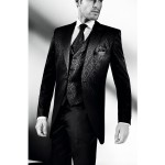 Black Morning 3 Piece Suit With Jaquard Pattern