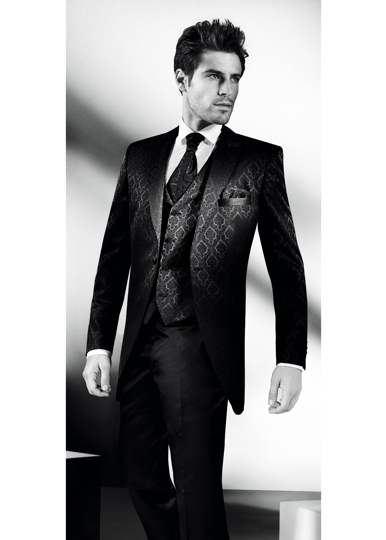 Black Morning 3 Piece Suit With Jaquard Pattern - Tom ...