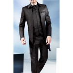 Long Chestnut Coloured 3 Piece Suit In A Textured Jacquard