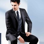 Blue One Button Suit In Minimal Pattern With Minimal Stripes