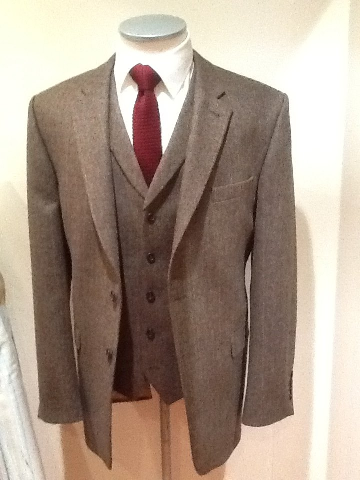 Suit with matching tweed waistcoat