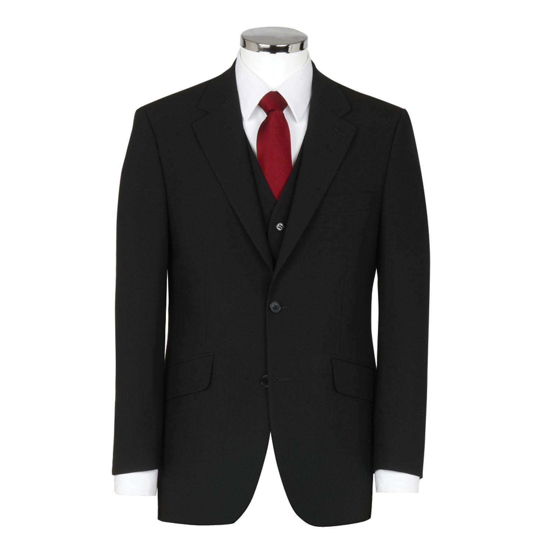 3 Piece Wool Mix Black Suit