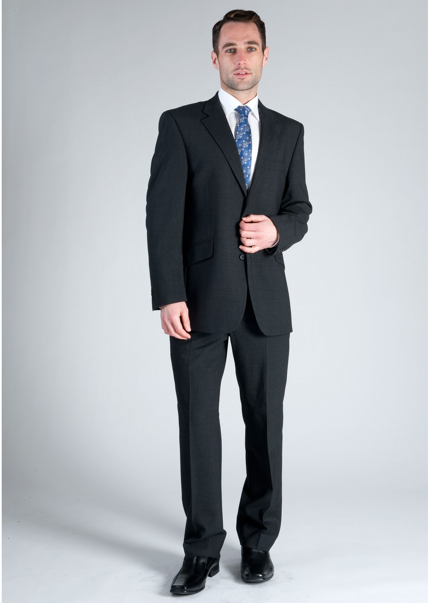 Charcoal Scott Grey Suit with FREE SKINNY SILVER TIE