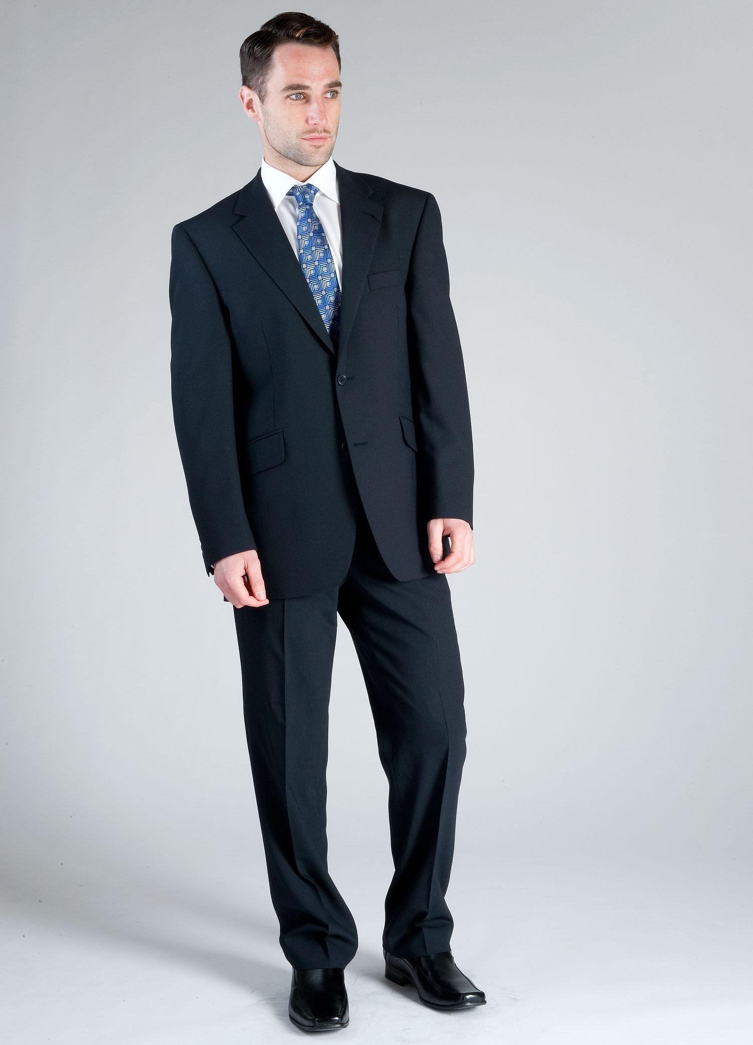 Navy Plain Wool Mix Suit