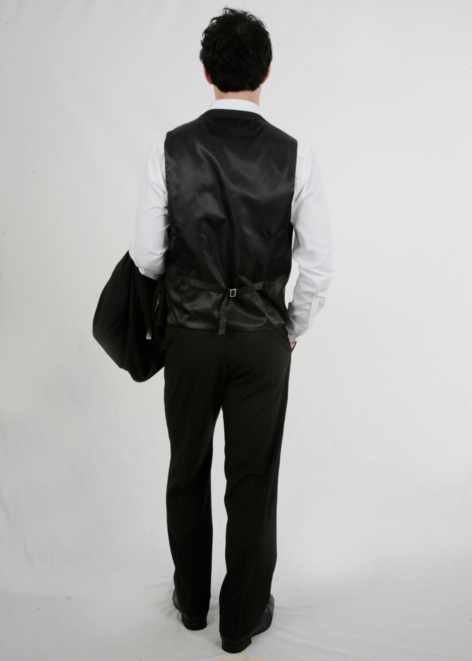 Pinstripe black waistcoat