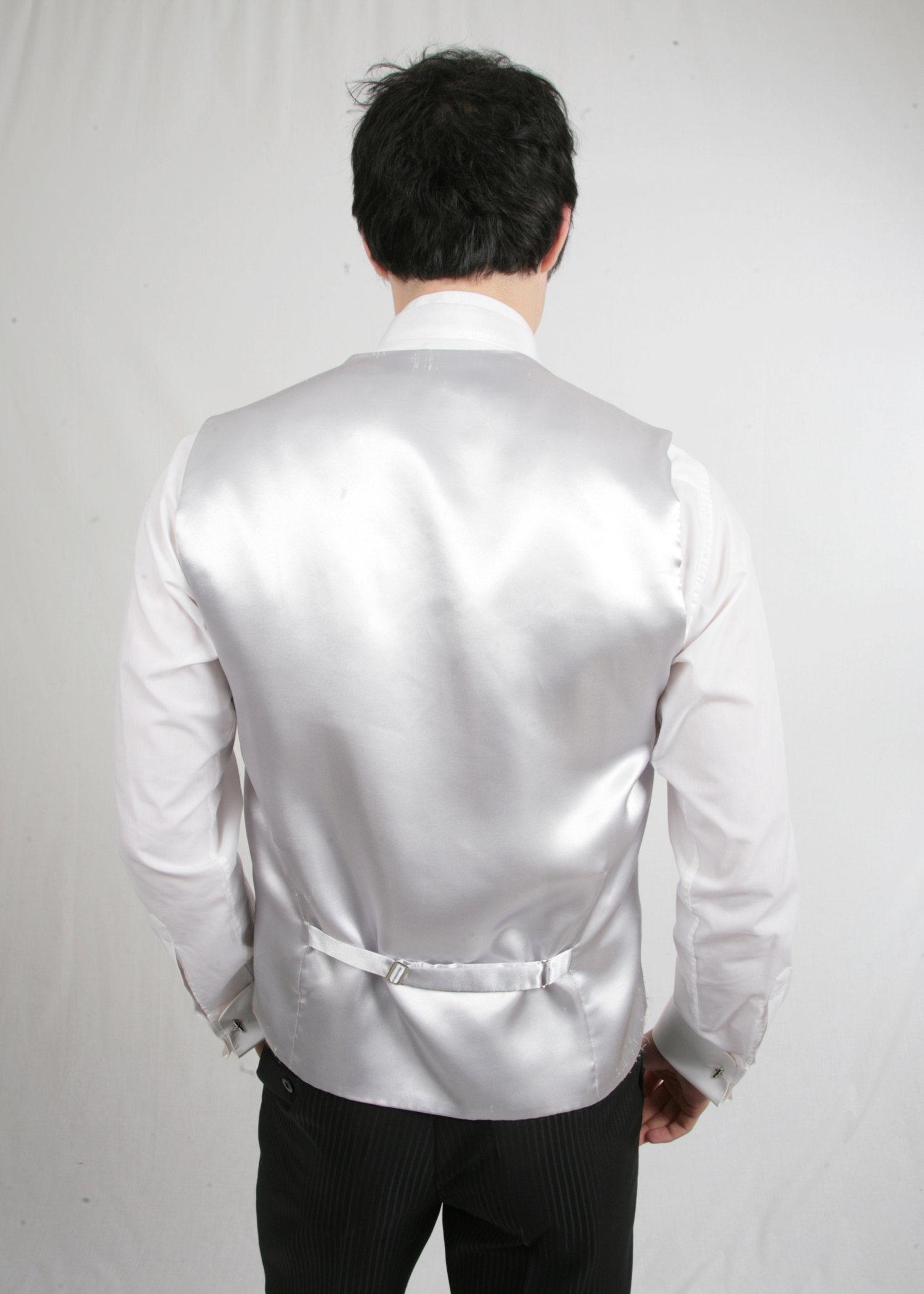 Plain White Poly Waistcoat