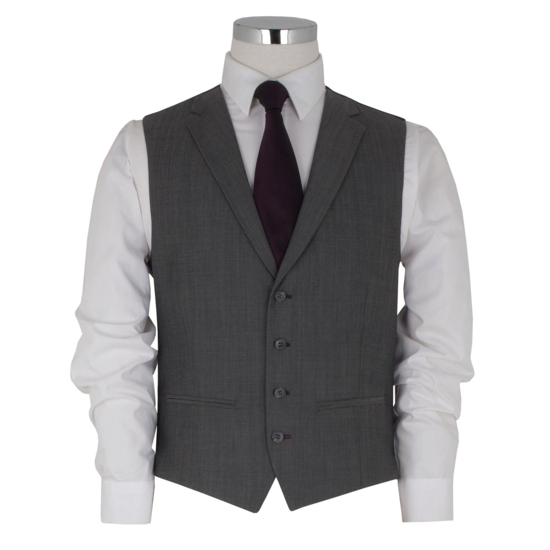 Silver 3 Piece with Notch Lapel Waistcoat