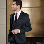 Elegant one-button, lustrous suit with restrained and fine stripes