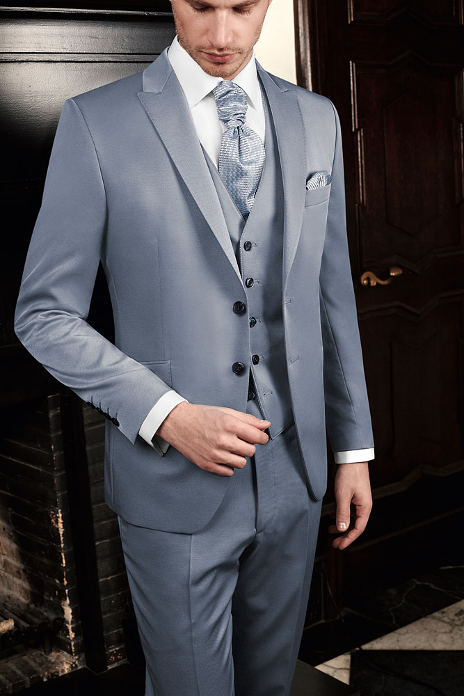 Baby Blue Suit with matching waistcoat and french plastron.Price from 699 Euro
