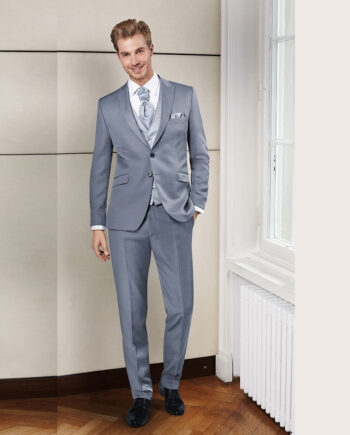 Silver-grey, two-button suit with a unique crystal look