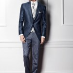 Three-piece, blue suit with a morning coat-like jacket