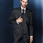 Long jacket with stand-up collar and jacquard pattern and trousers