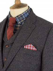 Donegal tweed 3 piece with rust knitted tie