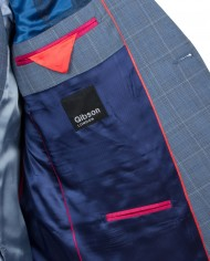 Blue Windowpane Check Suit Jkt G16114NMJ – Shirt G16154MS – Vest G16114MV – Tie G16173TE – Hank G16176HK_D
