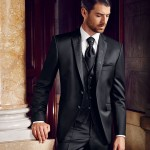 Embroidered Black 3 piece suit