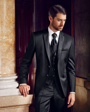 Prestige 2016 Embroidered Black 3 piece suit
