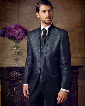 Blue Jacquard 3 piece suit