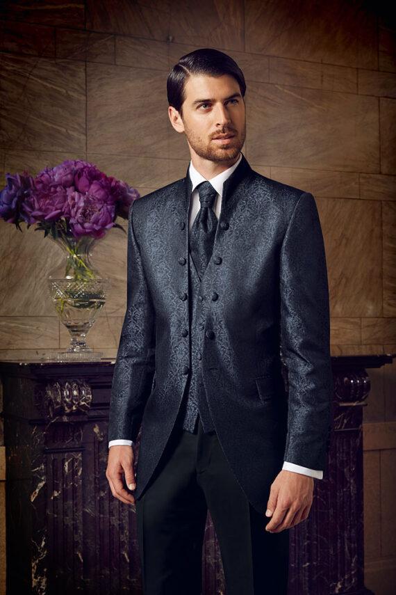 Blue Jacquard 3 piece suit