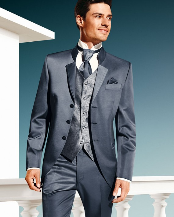 TZIACCO 2016 grey blue 3 piece suit