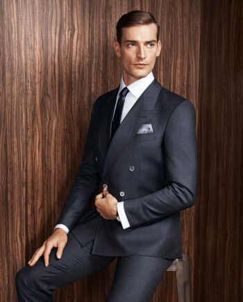 Double Breasted Tollegno Navy Pinstripe