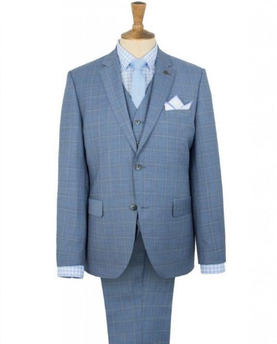 Blue Check 3 Piece Wedding Suit