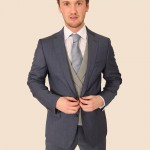 Ice Blue Suit with prince of Wales contrast check