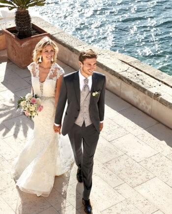 Grey 3 piece wedding suit
